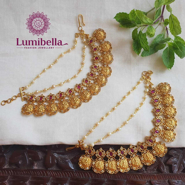 Lakshmi Style Royal Ear Chain With White Pearls