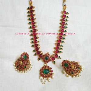 Gold Plated Kemp Style Neckset With Jhumka Earrings