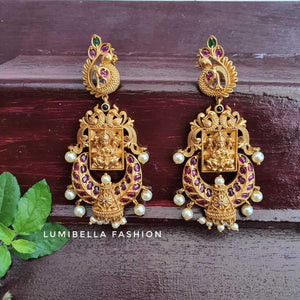 Lakshmi Long Earrings With Kemp Stones