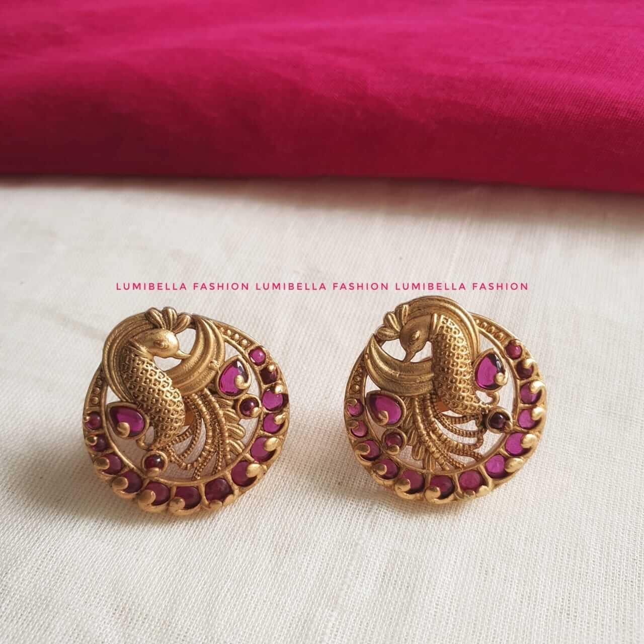 peacock stud earrings