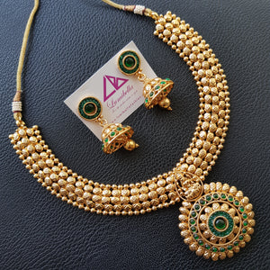 Temple style circular pendant neckset with Hindu god embellishment