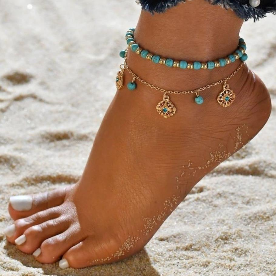 Single Leg Turquoise blue Boho Anklets / Bracelet Chains with golden beads