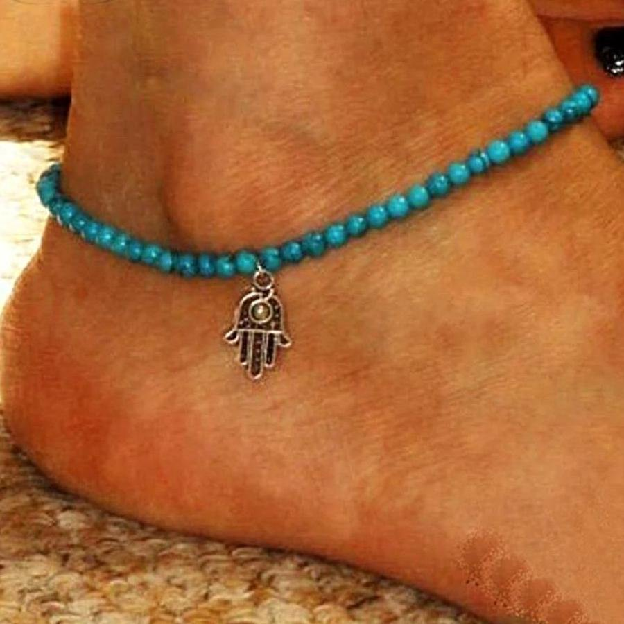 Fashion Anklet Boho Beads Hamsa Fatima Anklets blue