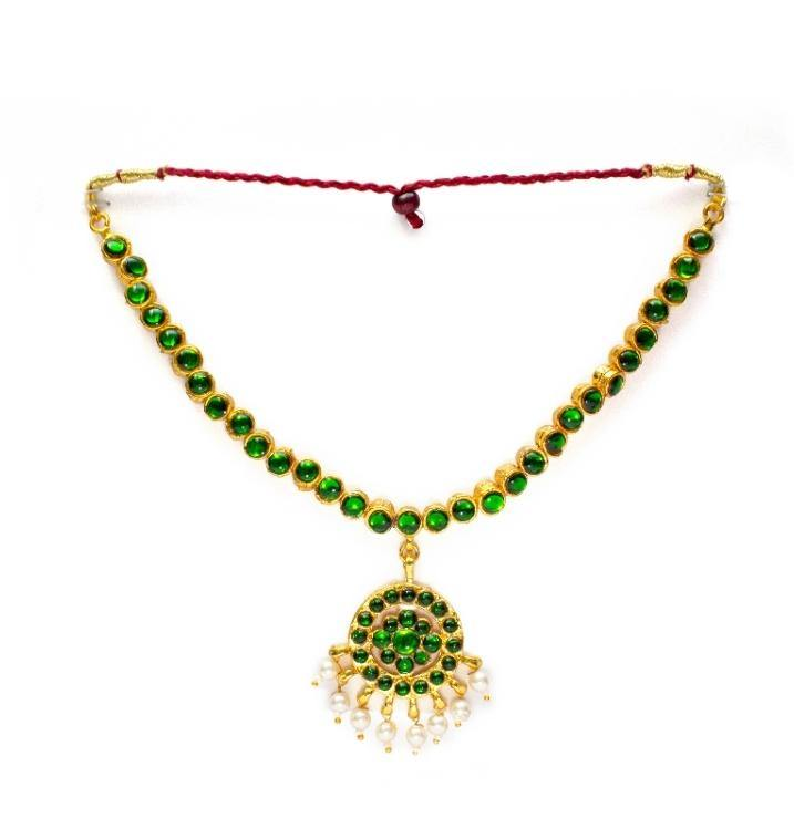 Green Stone Kemp Traditional Gold Polish Neckset for Woman