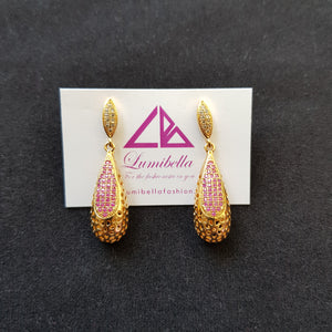 Long zircon Studded Ruby Earrings