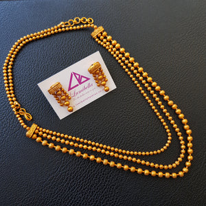 Simple style long Matte Neckset with golden pearl