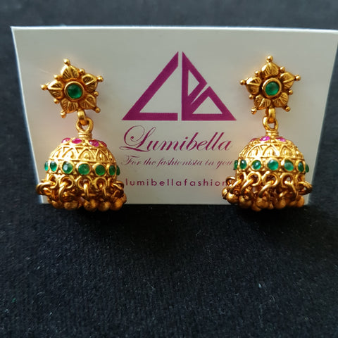 Matte finish small jumki earrings