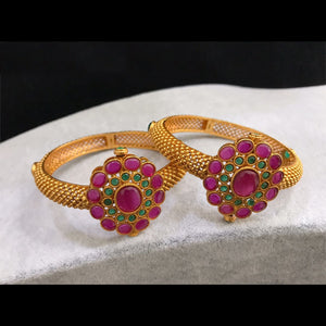 Matte finish bangles with Ruby and green kemp