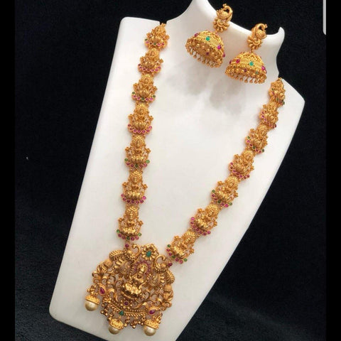 Temple Matte Style Traditional Neckset with semi precious stone