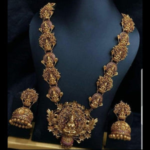 Matte Style Bridal Neckset with jhumka Earrings