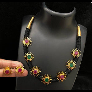 Thread Style Matte Sun Embellished Neckset
