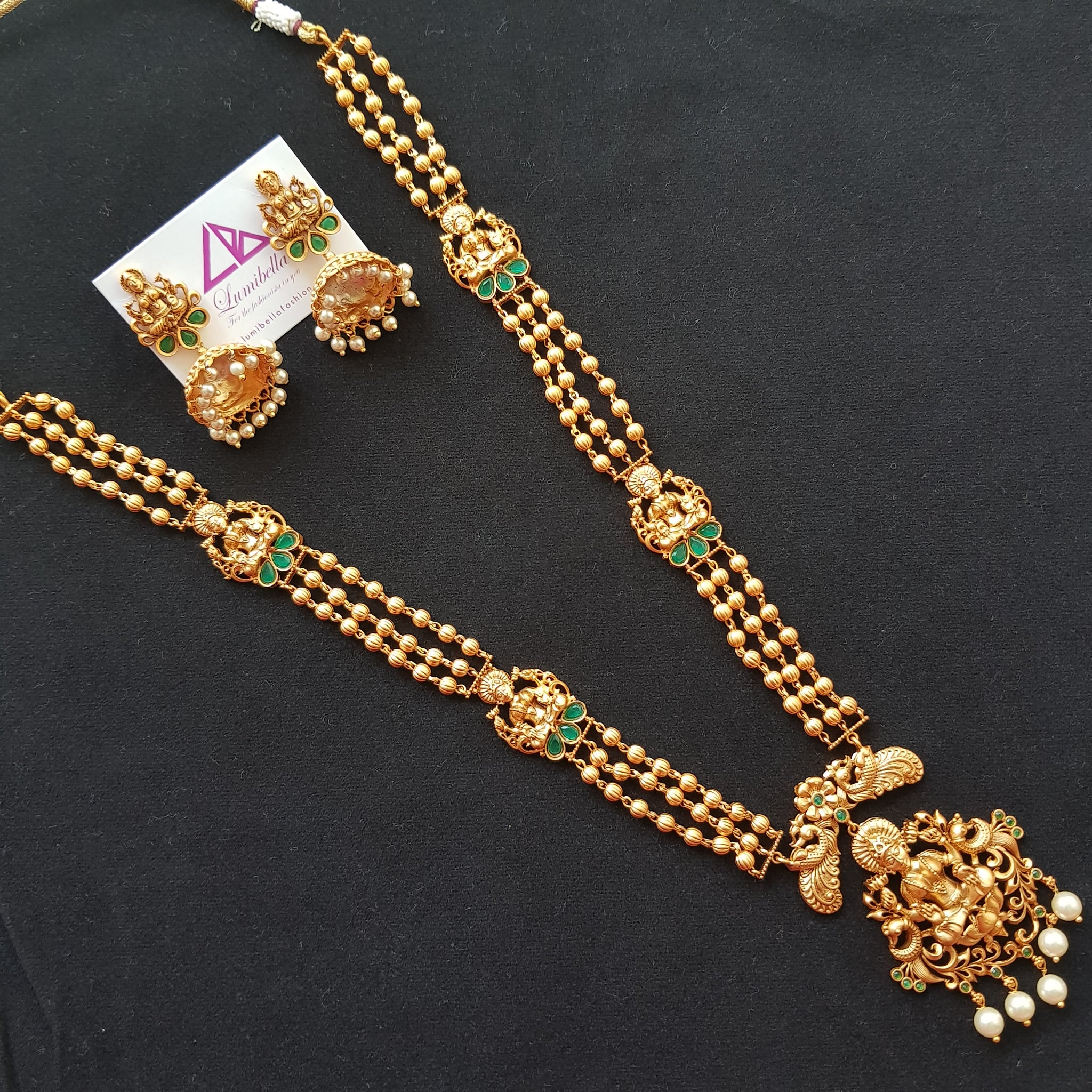 Temple style long Neckset with Hindu god