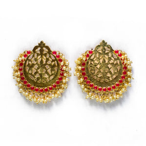 Designer Chandbali Earrings with Pink Stones for Woman