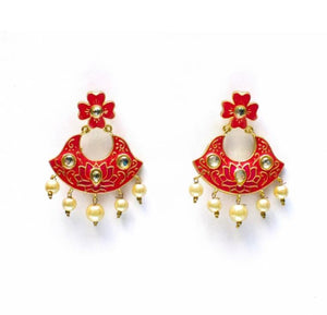 Designer Lotus Earrings with Pink Enamel and Kundan Stones for Woman