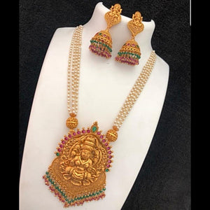 Temple Matte Style Traditional Neckset with Pearl chain