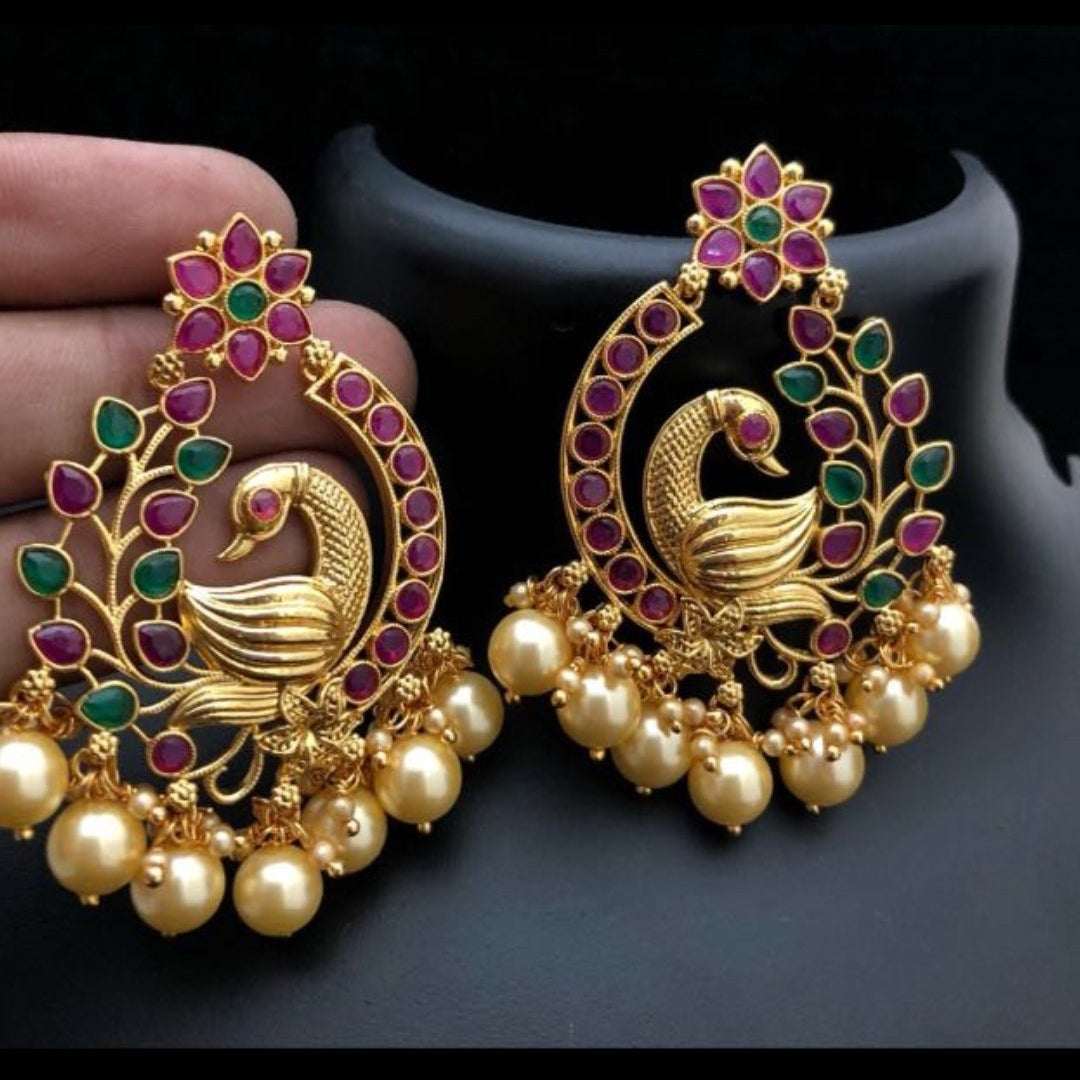 Peacock style antique earrings