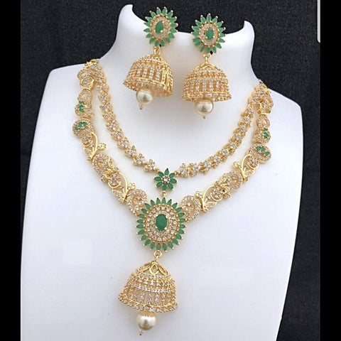 AD Floral Style Green Stone Studded Neckset