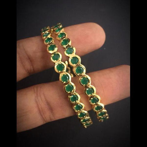 Green AD style fine gold polished Bangles