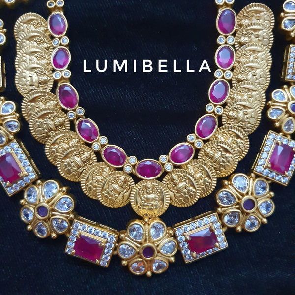 lakshmi coin work ruby stone necklace