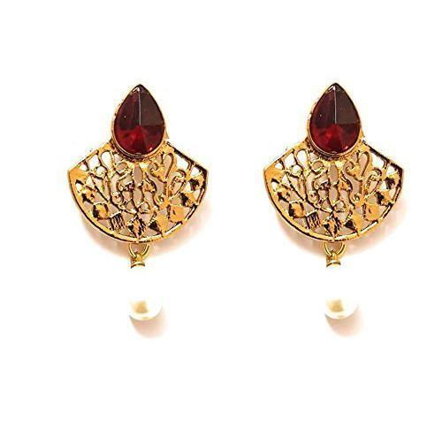 Lumibella Designer Red Stone Studded Earrings