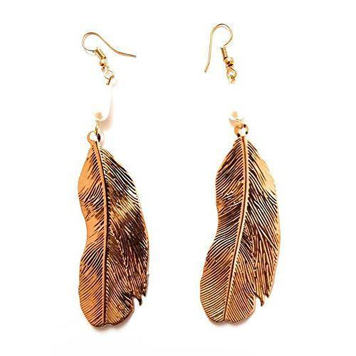 Lumibella Feather Style German Silver Designer Drop Earrings for women