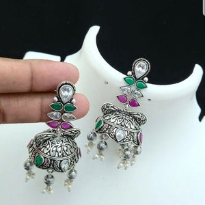 German silver Jhumka Earrings with Multi stone and Gungurus