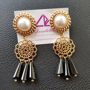 Golden Polish Designer Earrings With Black Charms