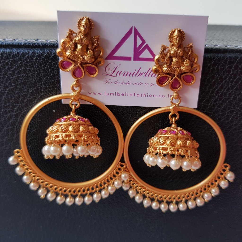 Matte finish hoop style laxmi jumki earrings