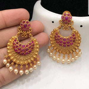 Matte Finish Chandbali Earrings with Ruby Stone Embellishment