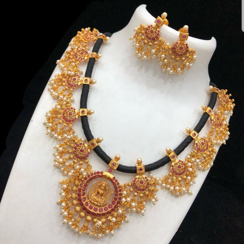 Nagas Black Thread Style Matte Neck set with Ruby Stone and Pearls
