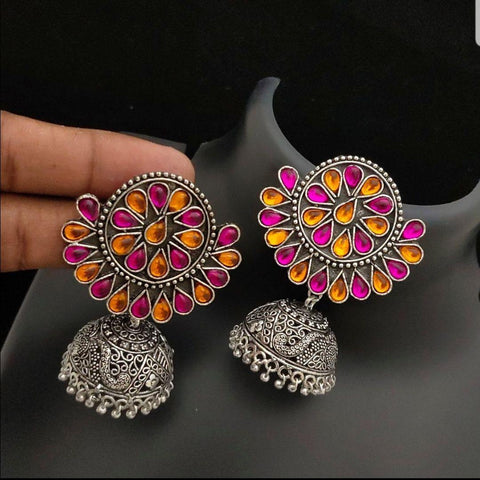 Floral Style Oxidised Big Jhumka with multi color stones