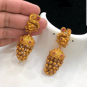 Matte Ruby stone Jhumka Jhumki Earrings