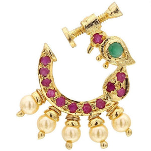 Peacock Style Golden Nath with American Diamond Embellishment