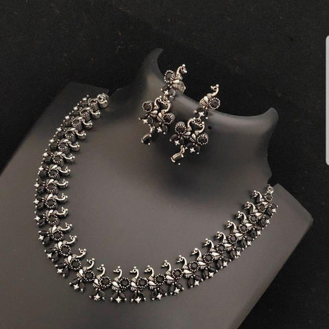 Peacock Style Ruby Faux Stone Studded German silver Neck set