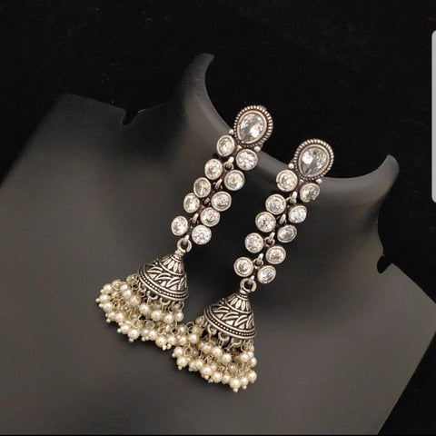 Oxidised Elegant Jhumka with White Stones