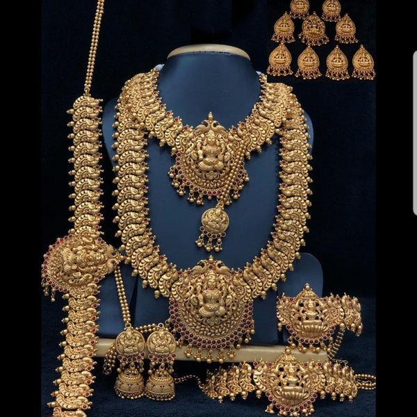 Matte Finish Heavy Temple Style Bridal Set