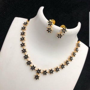 Black American Diamond Style Simple Floral patterned Neck set
