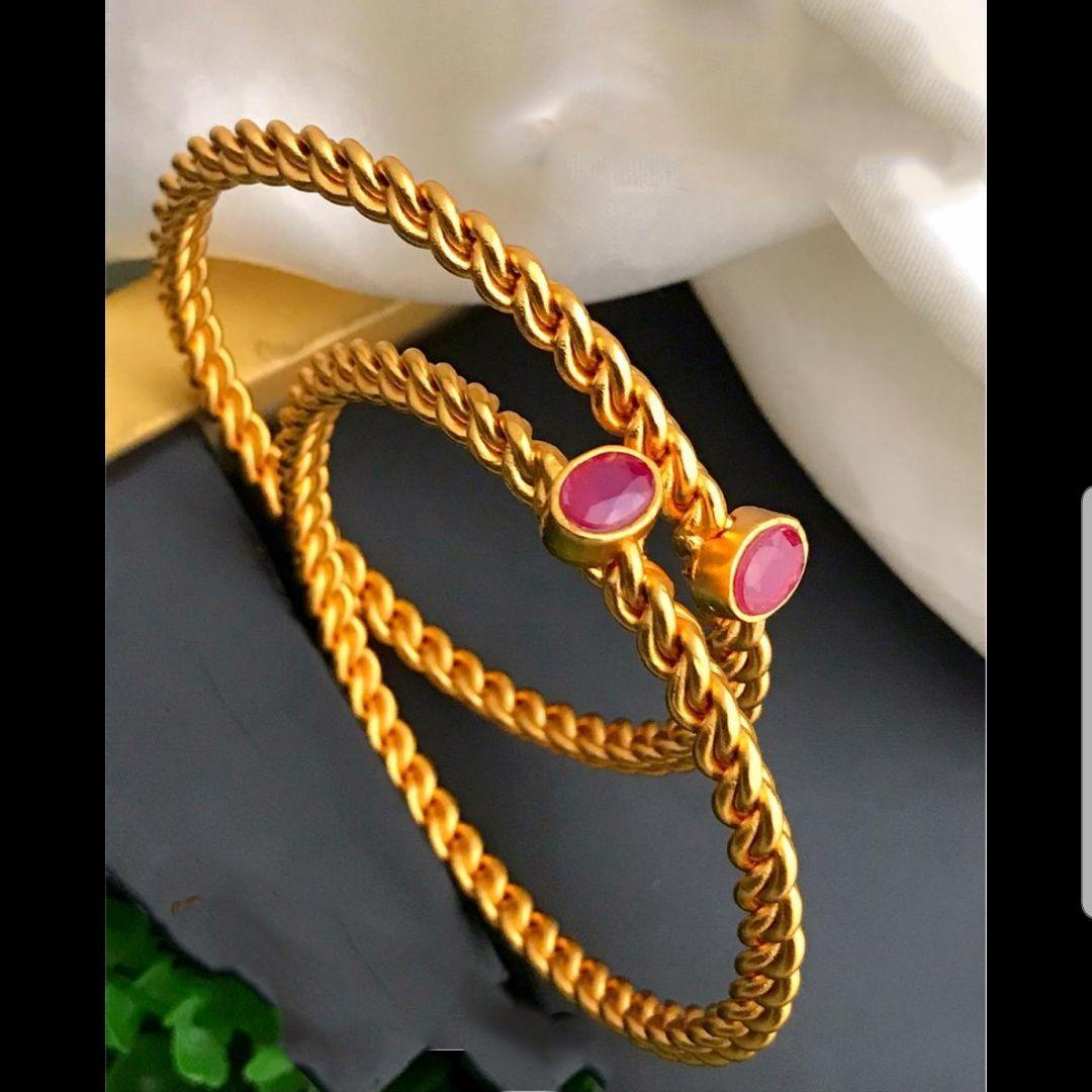 Oval Ruby Stone Studded Bangles
