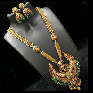Royal Nagas Style Long Haram With Green Bead Work