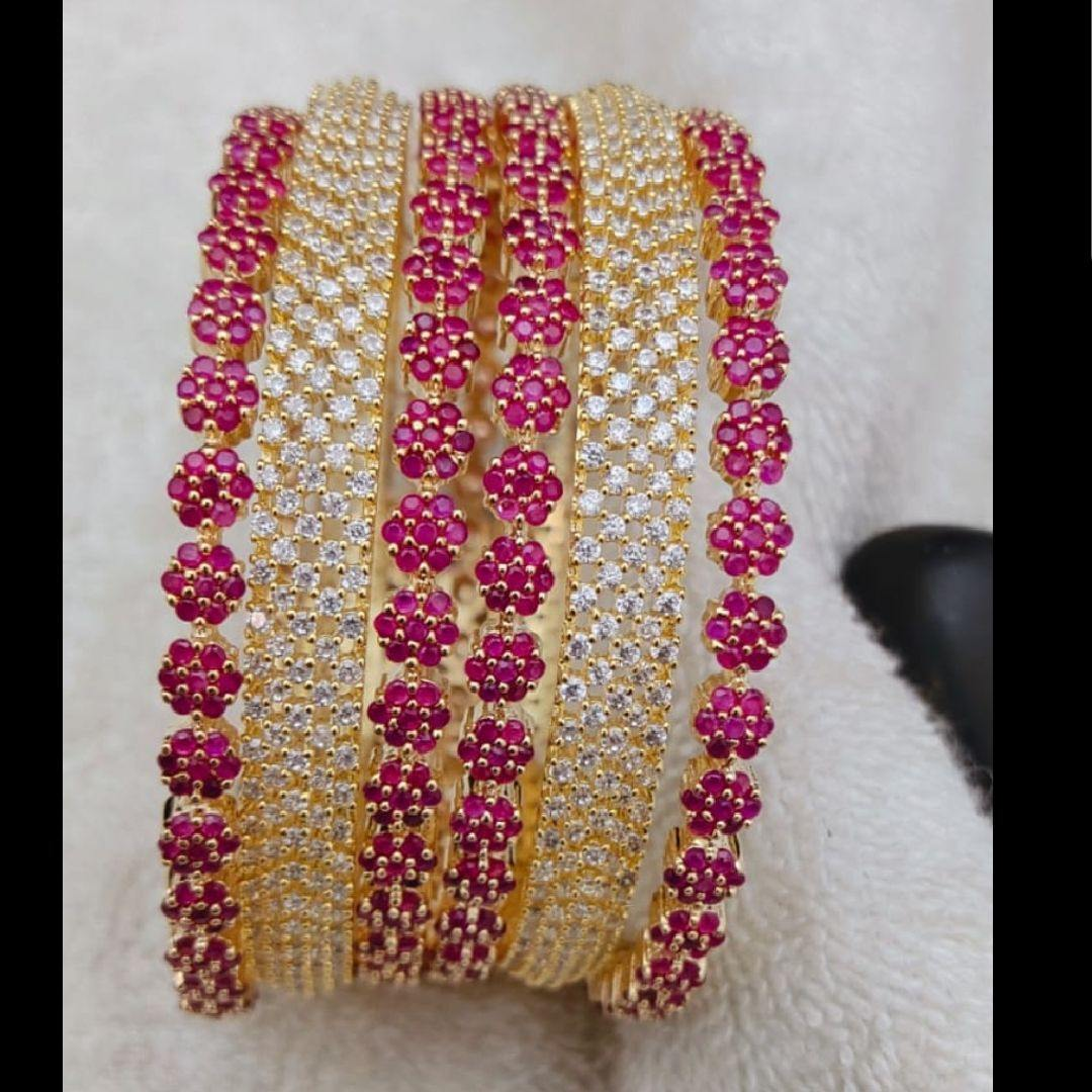 Floral Style 6 American Diamond Bangles