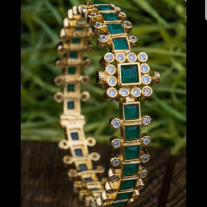 Green Color Square Style American Diamond Kada