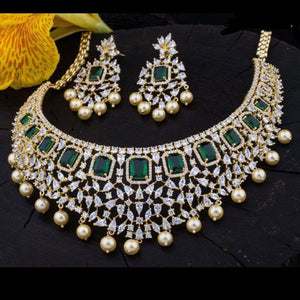 Green American Diamond Studded Designer Neckset
