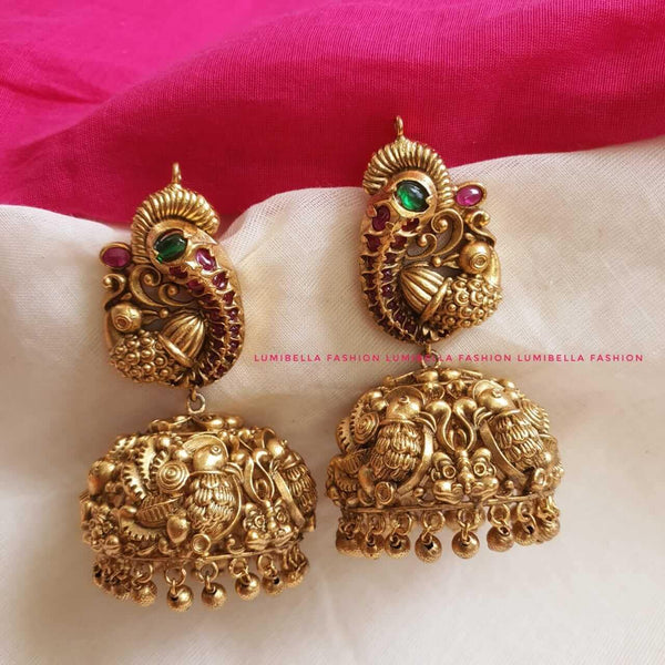 Heavy Temple Peacock Style Large Jhumka Earrings