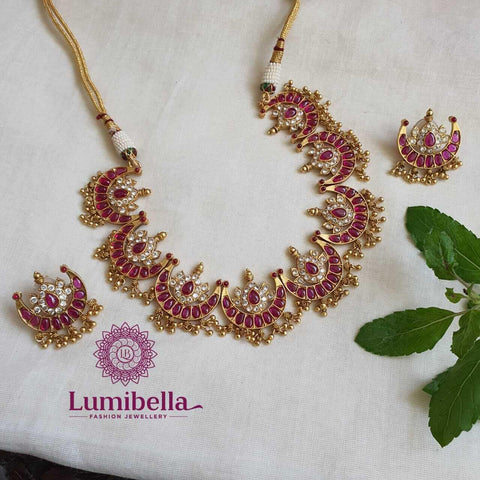 Half Moon Necklace With Ruby Stones