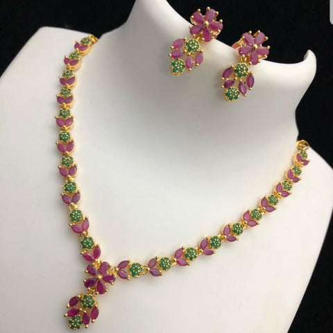 Ruby and Green Stone Studded American Diamond Neck set