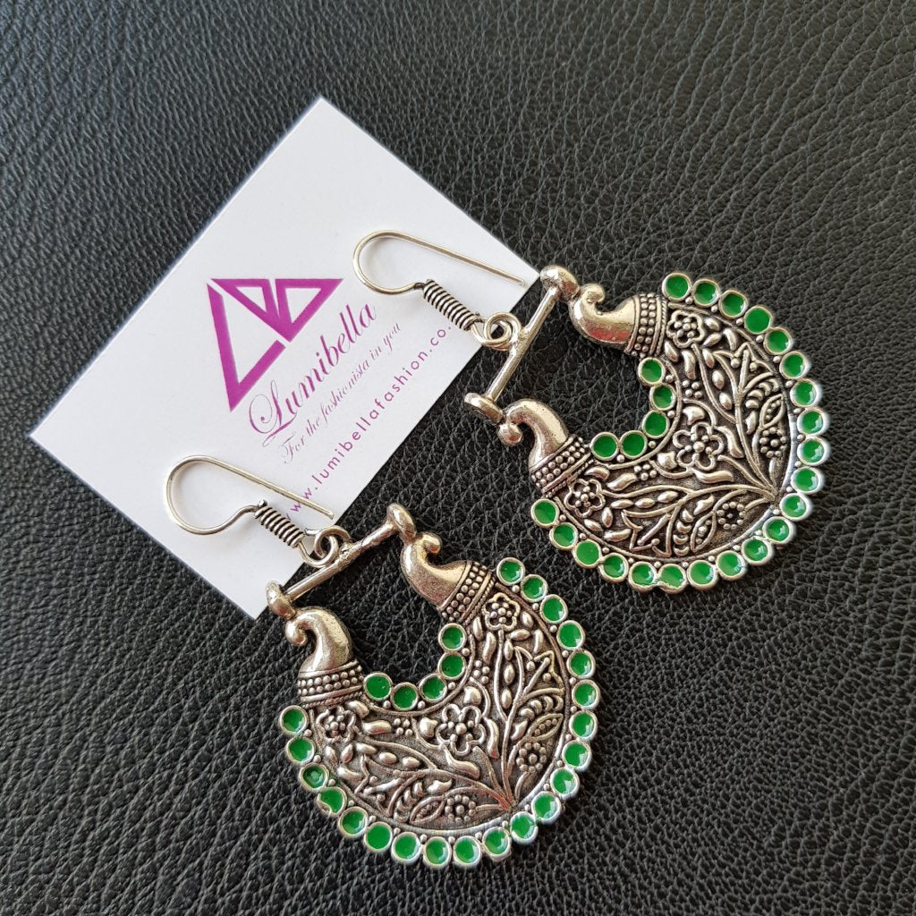 Green Enameled German silver earrings