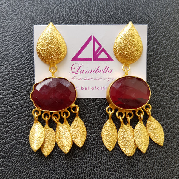 Matte gold polish designer earrings