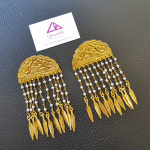 Golden Floral Carved Long Earrings