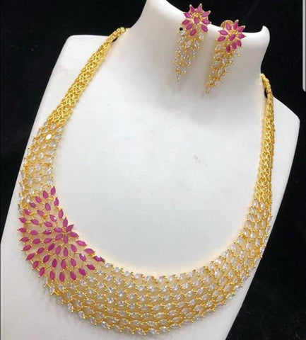 Long American Diamond Studded  Necklace