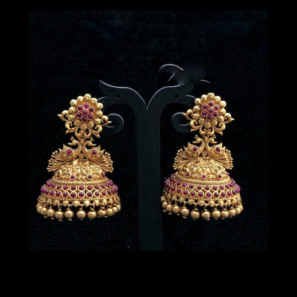 Peacock Matte Style Jhumka Earrings